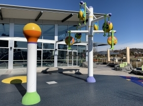 Out door splash park at our Googong location